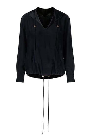 Callie hooded black silk stretch blouse