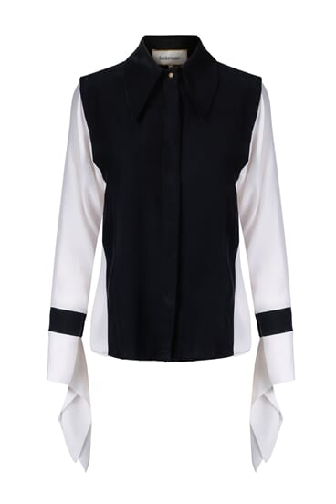 Citrin monochrome silk stretch blouse