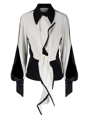 Georgina tie-detailed monochrome silk stretch blouse