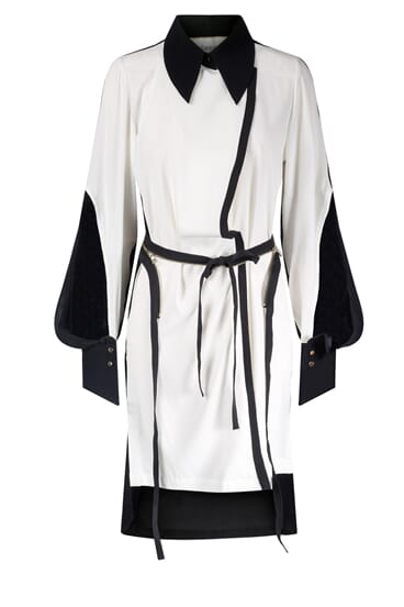 Taja monochrome belted silk stretch shirt dress