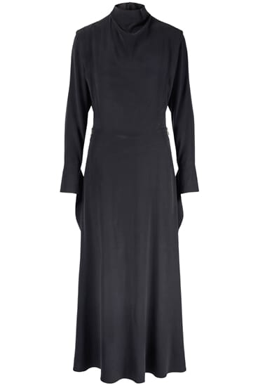 Liddie black midi silk stretch dress