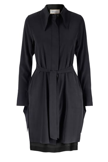 Mouna belted black silk stretch shirt dress