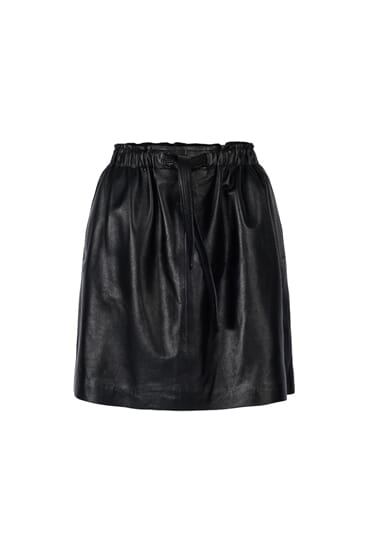 Karen black leather skirt